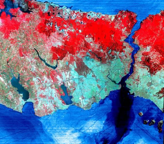 Obraz tureckého Istanbulu pořízený družicí Aster zabírá v 41 stupních severní šířky a 29 stupních východní délky území o velikosti 60 x 60 kilometrů.