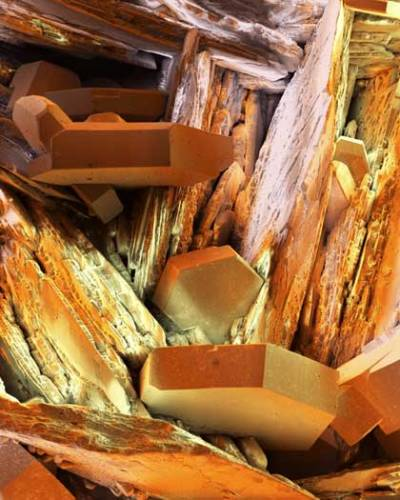 Krystaly vanadu (chemická značka V, lat. Vanadium) pod elektronovým mikroskopem. Málokoho napadne, jak je tento šedobílý kov důležitý pro život na naší planetě. Je totiž i ve stopovém množství významnou složkou všech živých organismů.