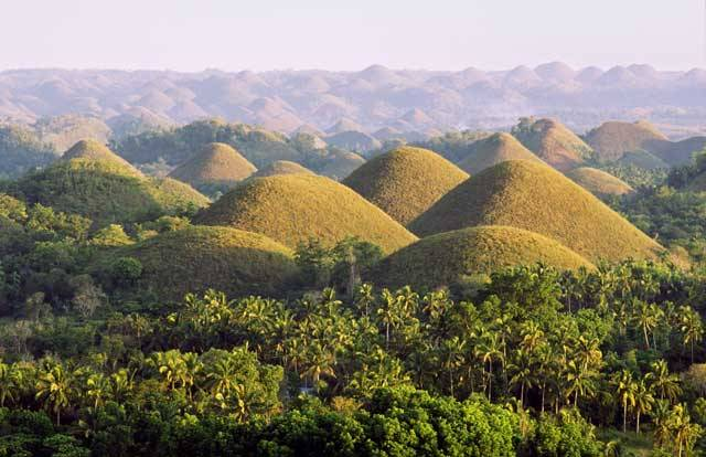 Pole pokryté obrovskými krtčími hromádkami nebo také sérií ženských ňader. Takové asociace jistě naskakují turistům, kteří se přijedou obdivovat krásám jedinečných Čokoládových hor na filipínském ostrově Bohol.