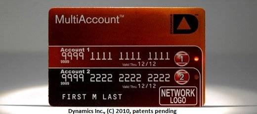 Množství karet od nejrůznějších účtů rozčiluje jistě již nejednoho majitele malé peněženky. Americká společnost Dynamics Inc. nedávno představila nové řešení - jednu jedinou kartu MultiAccount s drobným přepínačem mezi jednotlivými účty.