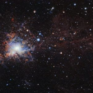This image from the VISTA infrared survey telescope at ESO's Paranal Observatory in northern Chile is part of the largest infrared high-resolution mosaic of Orion ever created. It covers the Orion A molecular cloud, the nearest known massive star factory, lying about 1350 light-years from Earth, and reveals many young stars and other objects normally buried deep inside the dusty clouds.