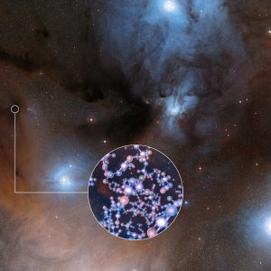 ALMA has observed stars like the Sun at a very early stage in their formation and found traces of methyl isocyanate — a chemical building block of life. This is the first ever detection of this prebiotic molecule towards a solar-type protostar, the sort from which our Solar System evolved. The discovery could help astronomers understand how life arose on Earth. This image shows the spectacular region of star formation where methyl isocyanate was found. The insert shows the molecular structure of this chemical.