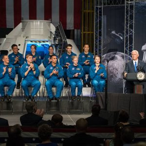 Mike Pence delivers remarks during an event where NASA introduced 12 new astronaut candidates, Kayla Barron, Zena Cardman, Raja Chari, Matthew Dominick, Robert Hines, Warren Hoburg, Jonathan Kim, Robb Kulin, Jasmin Moghbeli, Loral O'Hara, Francisco Rubio and Jessica Watkins at NASA's Johnson Space Center in Houston, Texas. After completing two years of training, the new astronaut candidates could be assigned to missions performing research on the International Space Station, launching from American soil on spacecraft built by commercial companies, and launching on deep space missions on NASA's new Orion spacecraft and Space Launch System rocket. Photo Credit: (NASA/James Blair)
